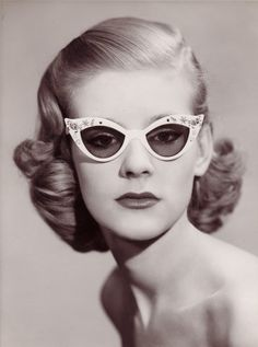 Spectacles circa 1950, courtesy C.W. DIxey & Son   vintage 50s glasses   1950s hair