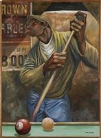 Untitled Chalking the Cue Stick by Ernie Barnes