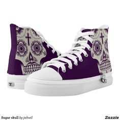 #sugarskull #shoes #tattoo #printedshoes #skull #hightopshoes #zazzle #grafikprod Sugar skull printed shoes