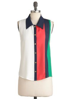 Gracing Stripes Top - Green, Blue, Pink, Black, Buttons, Casual, Menswear Inspired, Sleeveless, Mid-length, White, Color Block