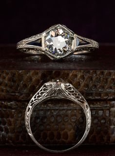 Idée et inspiration Bague Diamant : Art Deco Hexagonal Filigree Engagement Ring, Old European Cut Diamond (in the online shop) Anel Art Deco, Art Deco Schmuck, Bijoux Art Deco, Art Deco Ring, Wedding Rings Vintage, Vintage Rings, Wedding Jewelry, Art Deco Wedding Rings, Vintage Diamond Rings