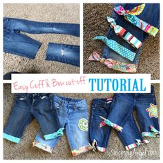 Cute cut off shorts for girls! My Aunt Angel's tutorial! Fell in love with these before I even knew the tutorial was hers! Can't wait to do this to Breidi's jeans.