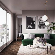 Nothing like a little Kate moss and a green sofa loving the pendants. Via - Architecture and Home Decor - Bedroom - Bathroom - Kitchen And Living Room Interior Design Decorating Ideas - Home Living Room, Apartment Living, Living Room Designs, Living Room Decor, Living Room Interior, What Is Interior Design, What Is Design, Design Scandinavian, Scandinavian Interiors