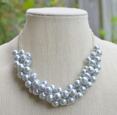Silver Pearl Cluster Necklace by RadiantByRetha on Etsy