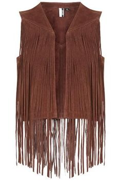 Pair with high wasted denim shorts and a sexy lace black bra // Suede Fringe Gilet by TopShop