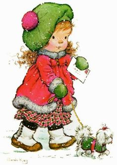 Betsey Clark, Holly Hobbie, Sarah Kay e outros Vintage Christmas Cards, Christmas Pictures, Christmas Art, Vintage Cards, Xmas, Christmas Colors, Winter Christmas, Sarah Key, Holly Hobbie