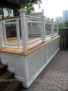 A formal deck plan originally built in Toronto and featured in Canadian House and Home. Unique privacy screens set this deck design apart! Deck Building Plans, Building A Porch, Deck Plans, Cool Deck, Diy Deck, Pergola Designs, Patio Design, Pergola Kits, Pergola Ideas