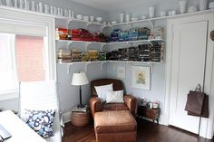 Floating shelves save lots of space if you don't have room for a separate reading nook