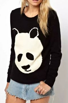Lovable Panda Print Pullover Knit Sweater: 11 Affordable Fall Sweaters