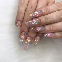 Clear Glitter Nails, Clear Acrylic Nails, Summer Acrylic Nails, Summer Nails, Glitter Nail Polish, Polygel Nails, Star Nails, Coffin Nails, Nail Manicure