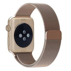 Apple Watch Band 38mm, Marge Plus Magnetic Closure Clasp Milanese Loop Stainless Steel Mesh Bracelet Strap Replacement Band for Apple Watch Gold  Features    Great alternative: High quality with competitive price.   Secure: The strong magnet holds the band tight to your wrist.   Easy on/off: The magnetic closure makes easy to put on and take off.   Adjustable: Perfectly adjust to your wrist. No buckle need, no extra sag and no need to remove links.     Specifications     Applicable m..
