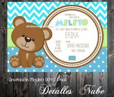 Baby Shower Niño Osito teddy Bear boy Invitacion Invitation detallesnube@gmail.com
