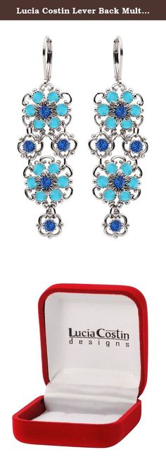 Lucia Costin Lever Back Multi Flower Chandelier Earrings Made of .925 Sterling Silver with Turquoise and Blue Swarovski Crystals, Crafted with Twisted Line Accents and Dots; Handmade in USA. Wonderfully sweet - these chandelier earrings are designed by Lucia Costin. Lucia Costin was born and raised in Eastern Europe, that is why all her products have a European touch of glamour but each item is hand-made in the USA and sold worldwide. The designs of Lucia Costin are very unique and…
