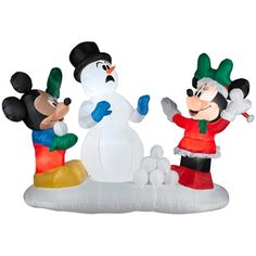 airblown mickey and minnie snowball fight christmas inflatables snowball fight canadian tire disney - Disney Christmas Inflatables