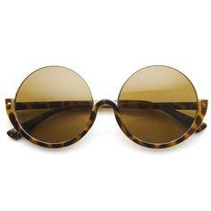 Womens High Fashion Upside Down Half Frame Round Circle Designer Sunglasses | zeroUV