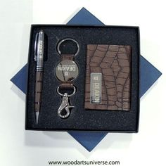 Brown Crocodile Embossed Business Gift Set WAURWGNG2700  This elegant gift set features a business card case, croco print pen and stylish key tag with. It's a great way to promote your company.: