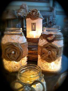 Decadent burlap mason jars by AliLej on Etsy, $25.00