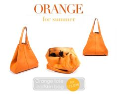 Soft, roomy, a #musthave for every season and occasion.  Entirely #handmade in #India by #designers. http://near-and-far.com/en/home/71-orange-tote-calfskin-bag-.html #bags #bagaddicted #tradition #orange