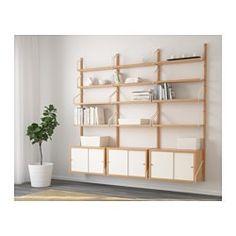 "SVALNÄS Wall-mounted storage combination, bamboo, white - 76x13 3/4x69 1/4 "" - IKEA"