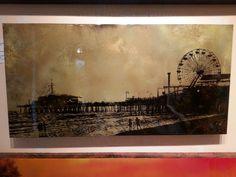"Nichole McDaniel art - Village Gallery, Laguna Beach, CA ""Golden""  the Santa Monica pier Absolutely beautiful with golds and bronze colors"