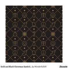 Gold and Black Christmas Symbols Seamless Pattern Poster