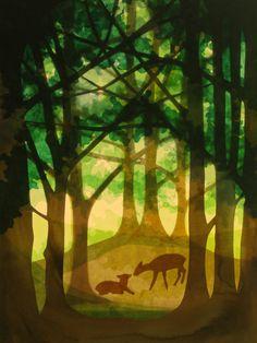 Handgemachte Foto-Grußkarte mit Umschlag. Foto ist von einer ursprünglichen Fensterbild  von ein Bild von zwei Rehe auf einer Lichtung im Wald. Das beigefügte Foto zeigt nur das Design, das auf...