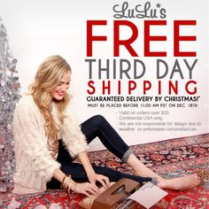 Get your goodies in time for Christmas! FREE 3rd day shipping! #lulusholiday