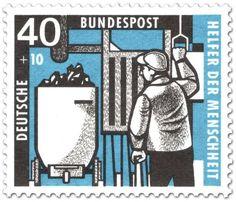 Briefmarke: Anschläger beim Kohlewagen am Förderschacht