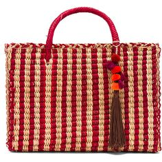 Nannacay Large Maldives Tote (930 BRL) ❤ liked on Polyvore featuring bags, handbags, tote bags, nannacay, straw tote bags, red hand bags, pom pom straw tote, red handbags and straw handbags
