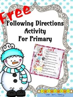 Students+follow+directions+to+create+three+unique+snowmen.+Following+directions+helps+young+children+develop+their+receptive+language+skills.Are+you+ready+for+Valentine's+Day?Valentine+Problem+Solving+Task+Cards+DOLLAR+DEAL:Valentine's+Primary+Math+PacketFREEBIES:+Valentine's+Day+Following+Directions+Lesson++Valentine+Themed+Fact+Sorting+Math+CenterSt+Patrick's+Day+and+spring+are+not+as+far+away+as+you+think!