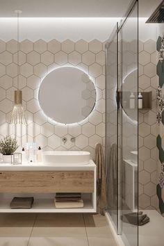 Modern Bathroom Decor, Modern Bathroom Design, Bathroom Interior Design, Modern Hallway, Light Bathroom, Bathroom Mirrors, Interior Modern, Modern Luxury, Bathroom Ideas White