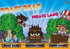 Ayuda a este Osito que le encanta los panes tostados de los piratas, ellos querrán eliminarte pero tienes que saltar esquivando a los piratas y al mismo tiempo capturando las tostadas, trata de pasar todos los niveles de este bonito juego.