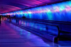 Psychedelic Light Tunnel, Detroit Airport by Steve Hopson, via Flickr