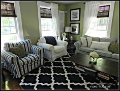 ~ rooms FOR rent ~ Navy and green living room Living Room Update, Living Room Green, New Living Room, Green Wall Color, Green Walls, White Walls, How To Clean Furniture, Furniture Cleaning, Living Room Arrangements