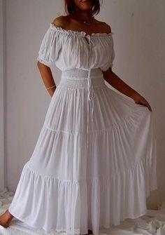 WHITE/DRESS-PEASANT-SMOCKED-RUFFLED-S M L XL 1X 2X 3X 4X 5X 6X PLUS ONE SIZE