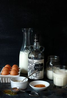 """This Black-Spiced Rum Eggnog looks delicious, but I mainly want that bottle... """"The Kraken"""" love it!"""