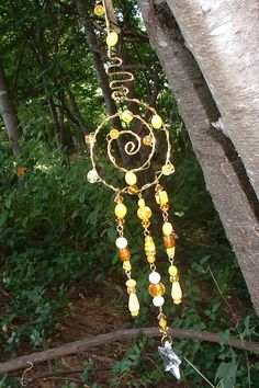 Litha Sun Catcher,Midsumer Crystal Star Prism, Goddess spiral, faeries, yellow, amber glass, Healing Light, Air