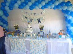 Mesa central do chá de bebê do meu príncipe Heitor