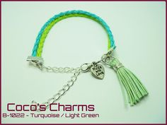 Braided Leather Turquoise and Light Green Bracelet - Cocos Charms