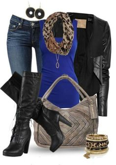 #Feelingcolorscheme#LeatherJacket#Bluetank#Leopardscarf#Taupebag