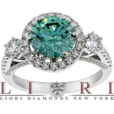 4.01 Carat Fancy Blue Diamond Engagement Ring 18K White Gold Vintage Style, Certified Diamonds