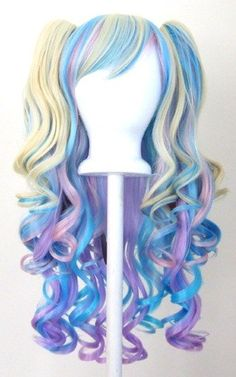 20'' Gothic Lolita Wig + 2 Pig Tails Set Pastel Rainbow Blend Cosplay NEW    Special Price: $46.0