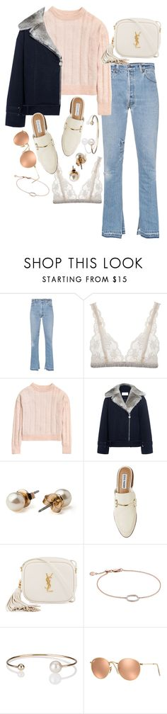 """Başlıksız #668"" by cattieson ❤ liked on Polyvore featuring RE/DONE, Lonely, H&M, Carven, American Apparel, Steve Madden, Yves Saint Laurent, Monica Vinader, Letters By Zoe and Ray-Ban"