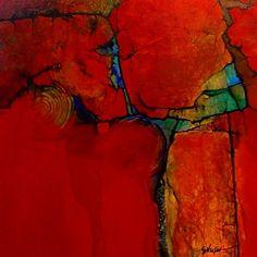 Anasazi R by Carol Nelson mixed media ~ 14 x 14