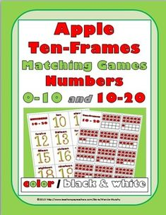 Apple Ten-Frames Matching Games - Numbers 0-10 and 10-20