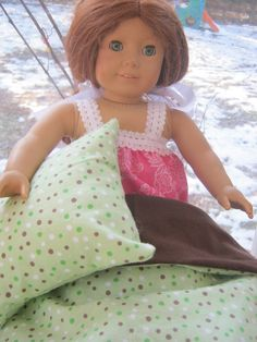 Green Polka Dot Doll Bedding blanket and pillow for by babychickie