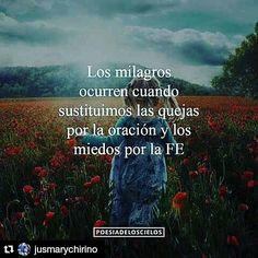Los Milagros ocurren cuando sustituimos las quejas por la oracion y los miedos por la Fe. Via => http://JoseCFernandez.com