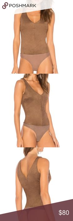 BCBGMAXAZRIA Mya Faux-Suede Bodysuit Mocha NWT Authentic NEW, never worn. Hang Tags included.   🔵 YES I Bundle 🔴 NO I don't trade (I'm a recovering hoarder trying to clean out my closet) 🔵 I accept reasonable offers 🔴 NO low ball offers please 🔵 Please Use the Offer Button!    💜 Thank you for visiting my closet! BCBGMaxAzria Tops