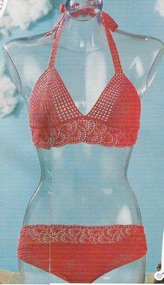 Maillot rouge bikini set with diagrams