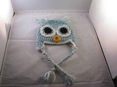 Crochet Korner Crocheted Newborn Owl Hat Blue and by CrochetKorner, $20.00